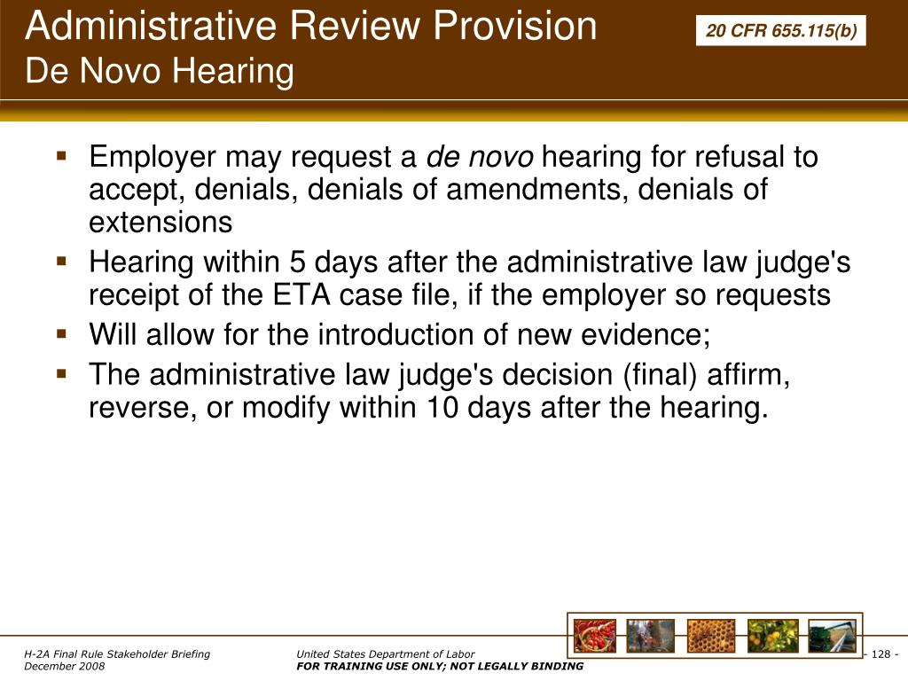Administrative Review Provision