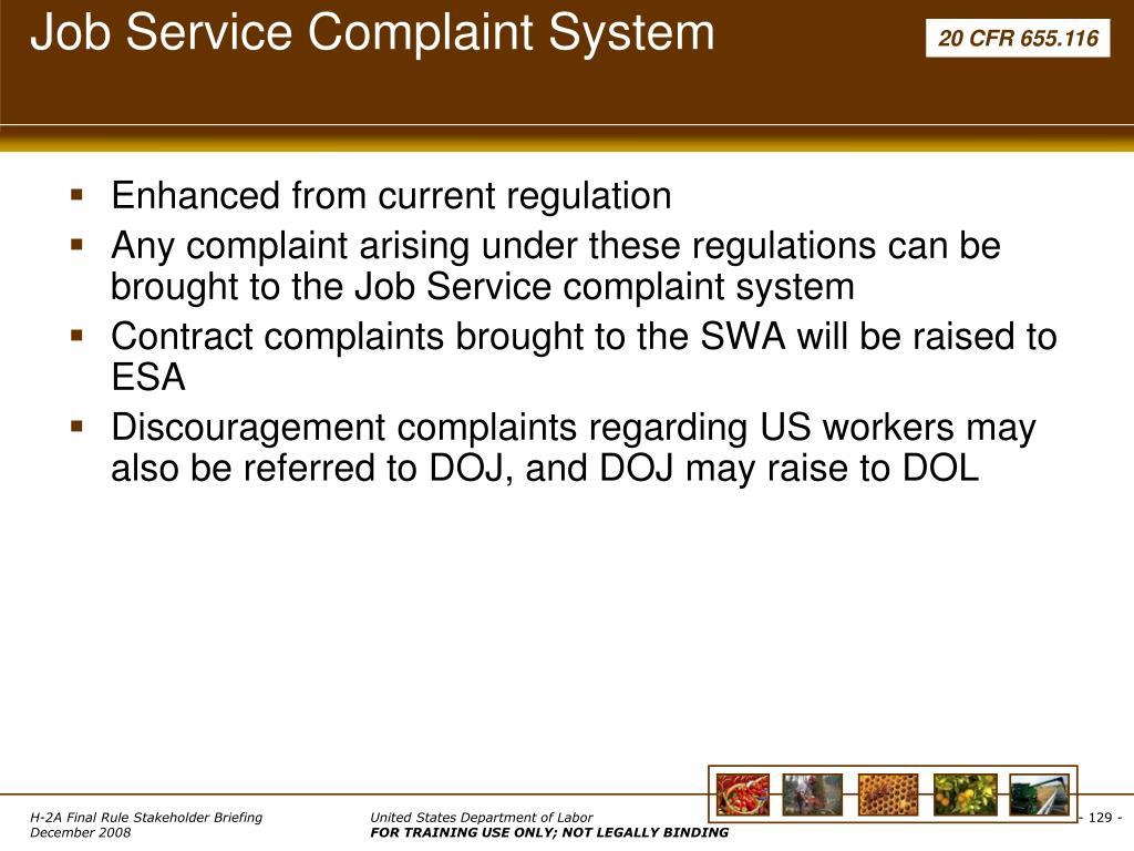 Job Service Complaint System