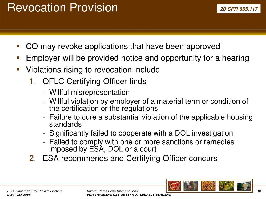 Revocation Provision