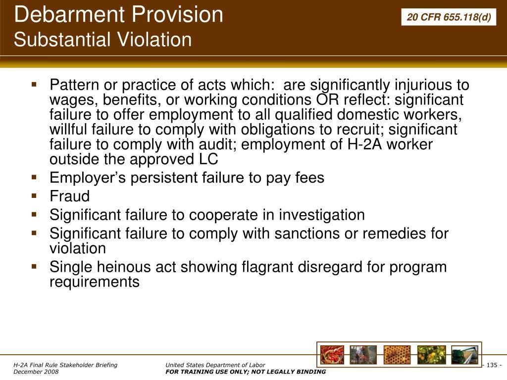 Debarment Provision