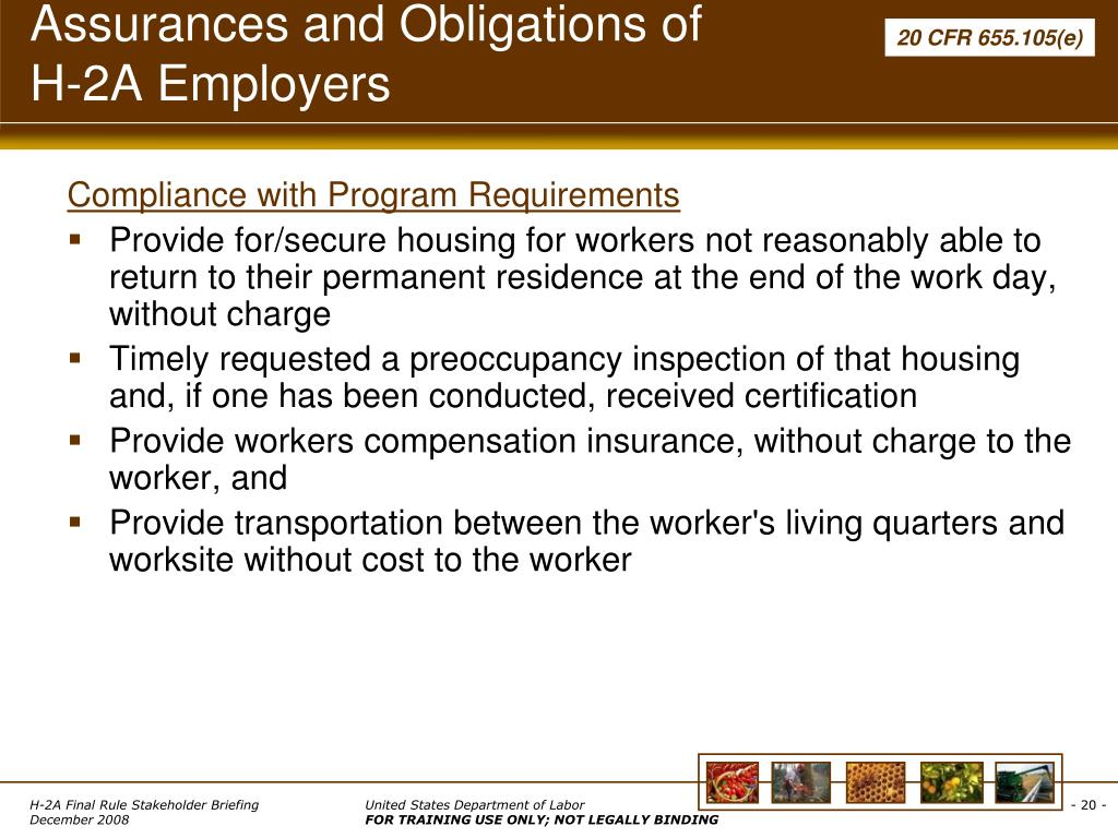Assurances and Obligations of