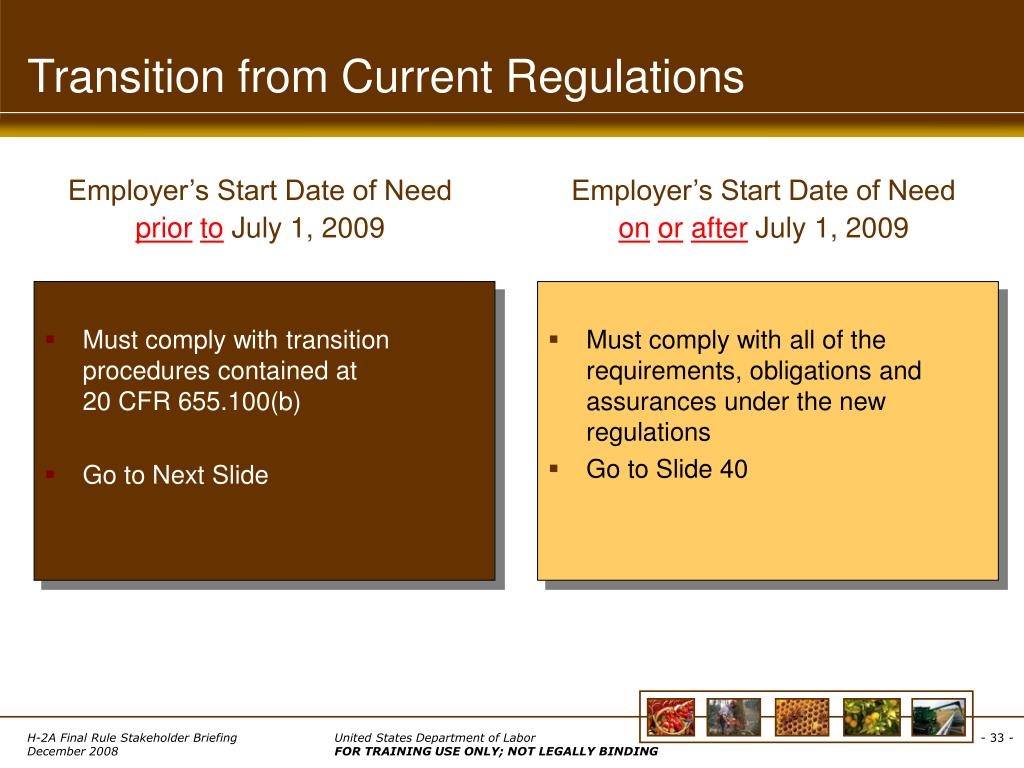 Transition from Current Regulations
