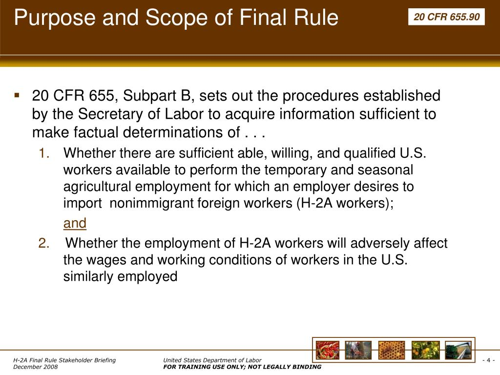 Purpose and Scope of Final Rule