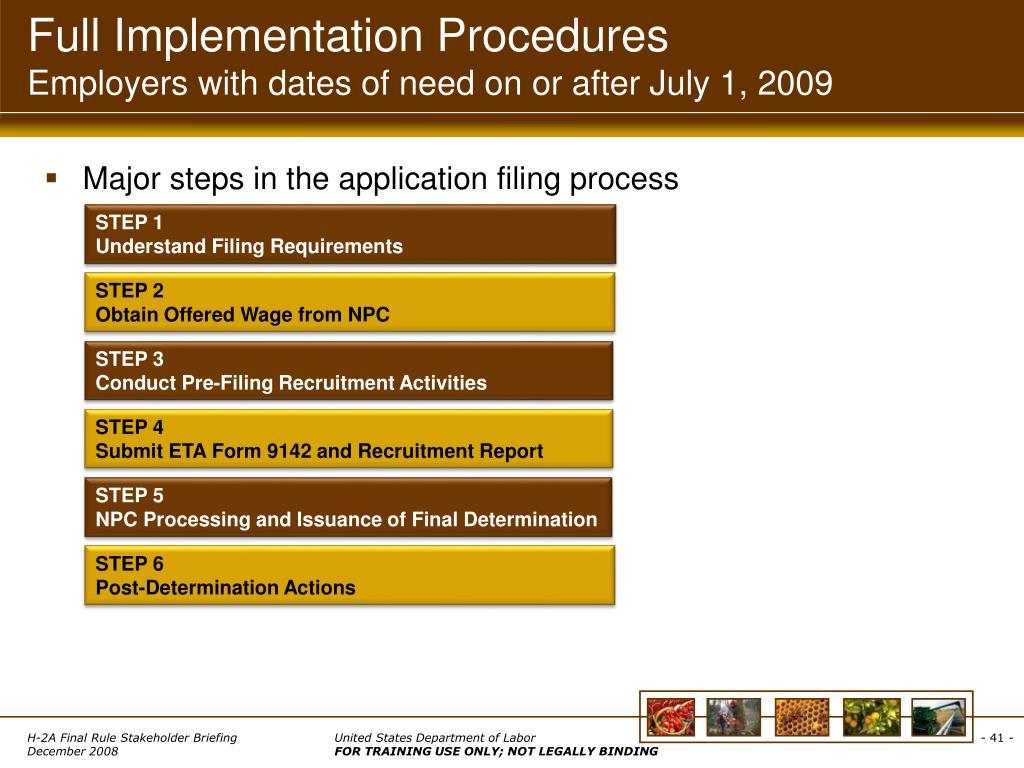 Full Implementation Procedures