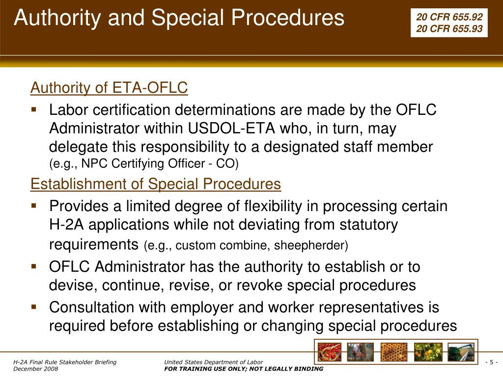 Authority and Special Procedures