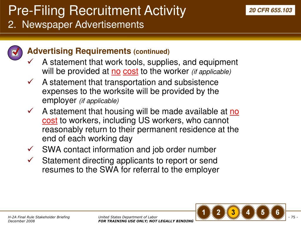 Pre-Filing Recruitment Activity