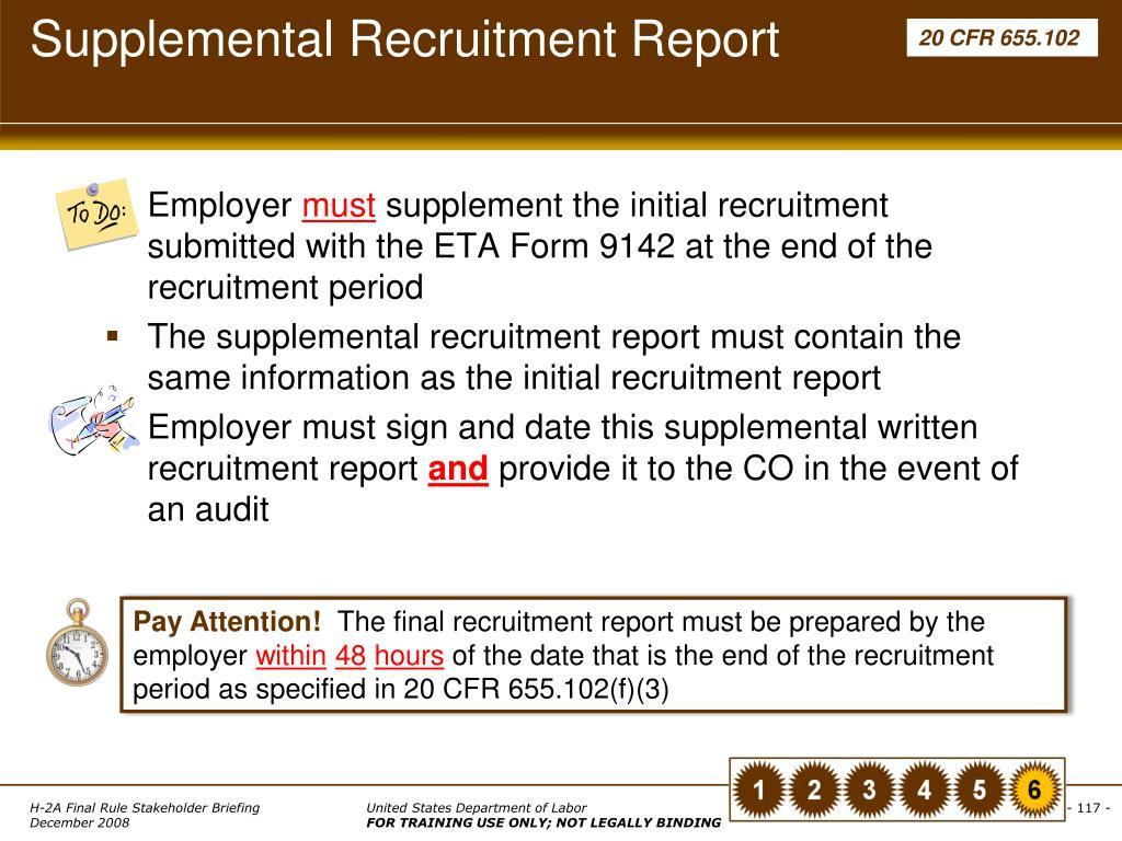 Supplemental Recruitment Report