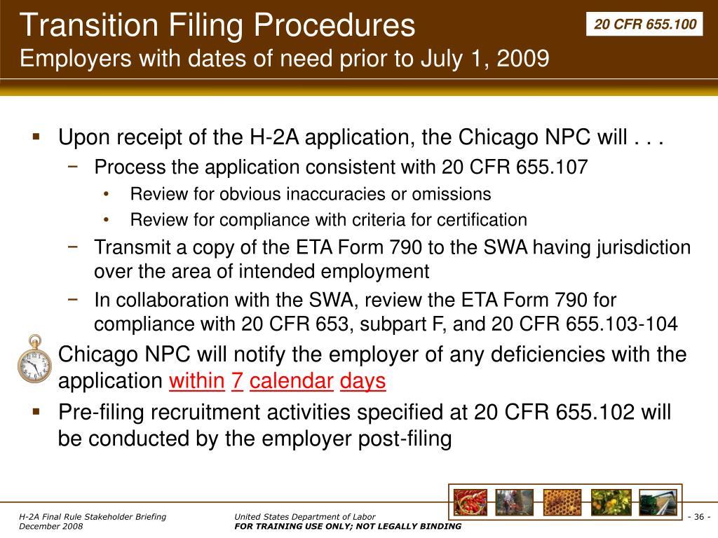 Transition Filing Procedures