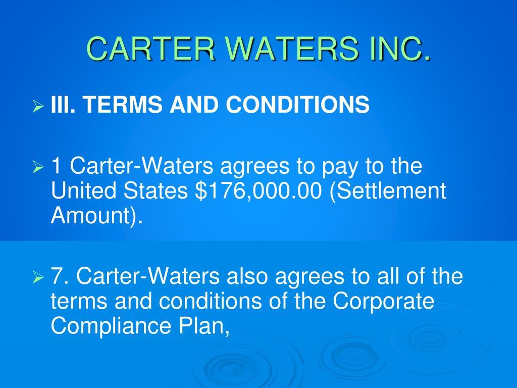 CARTER WATERS INC.
