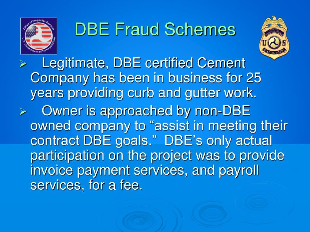 DBE Fraud Schemes
