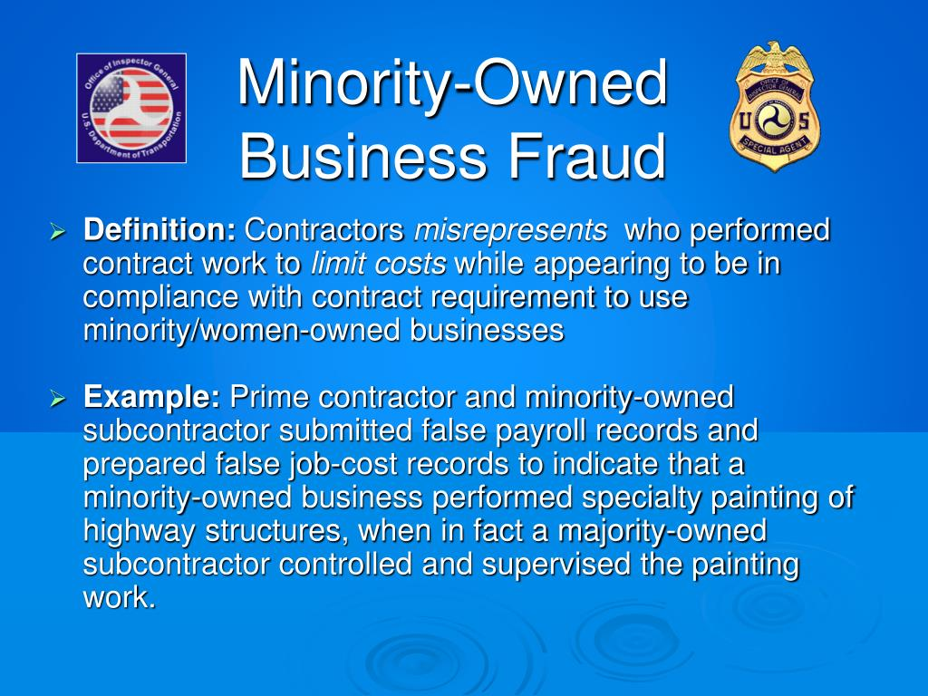 Minority-Owned Business Fraud