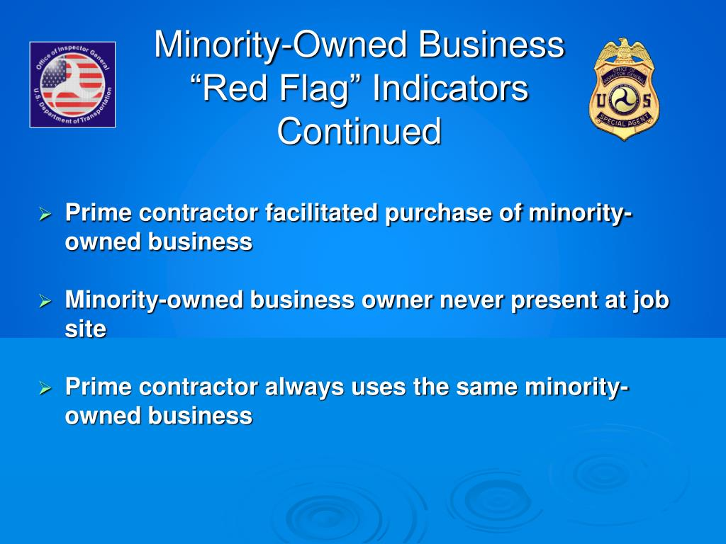 """Minority-Owned Business """"Red Flag"""" Indicators Continued"""