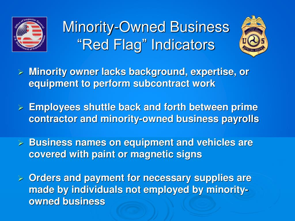 """Minority-Owned Business """"Red Flag"""" Indicators"""