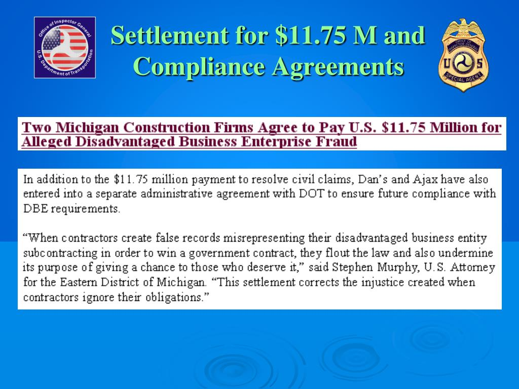 Settlement for $11.75 M and Compliance Agreements