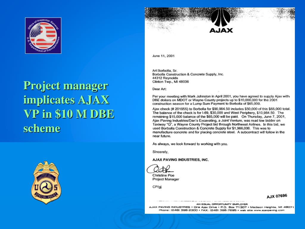 Project manager implicates AJAX VP in $10 M DBE scheme