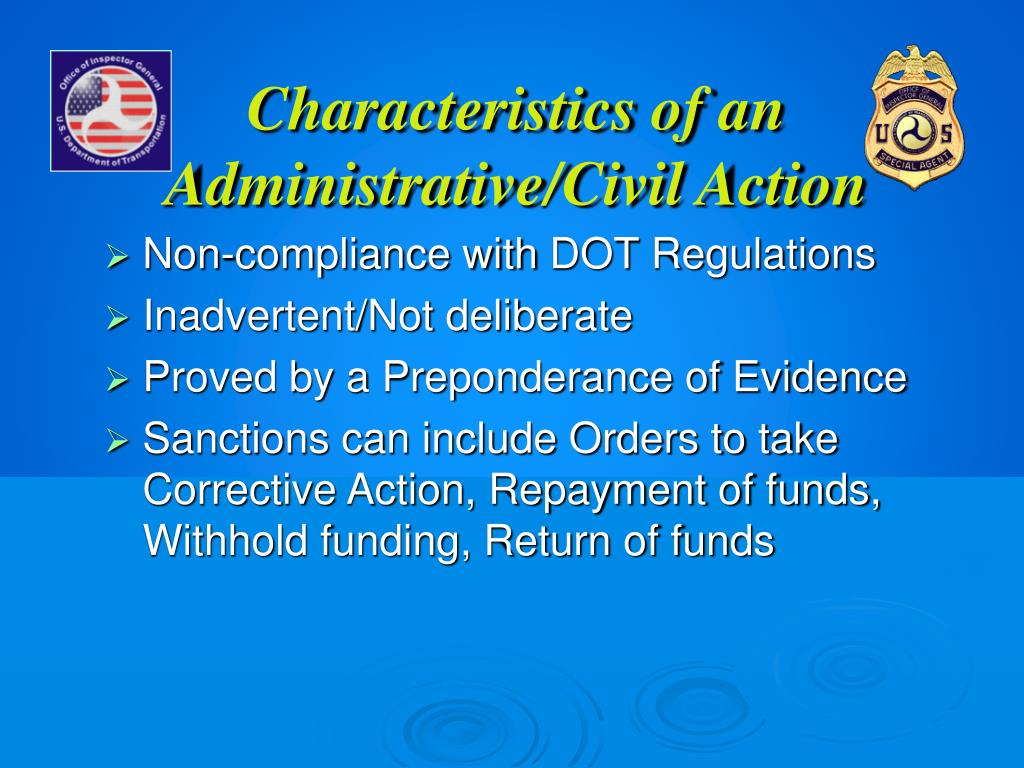 Characteristics of an Administrative/Civil Action