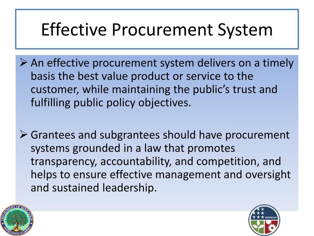 Effective Procurement System