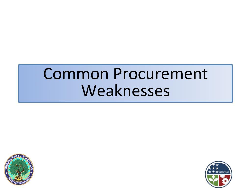 Common Procurement Weaknesses