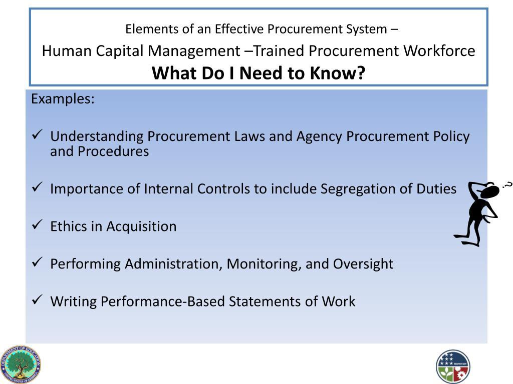 Elements of an Effective Procurement System –
