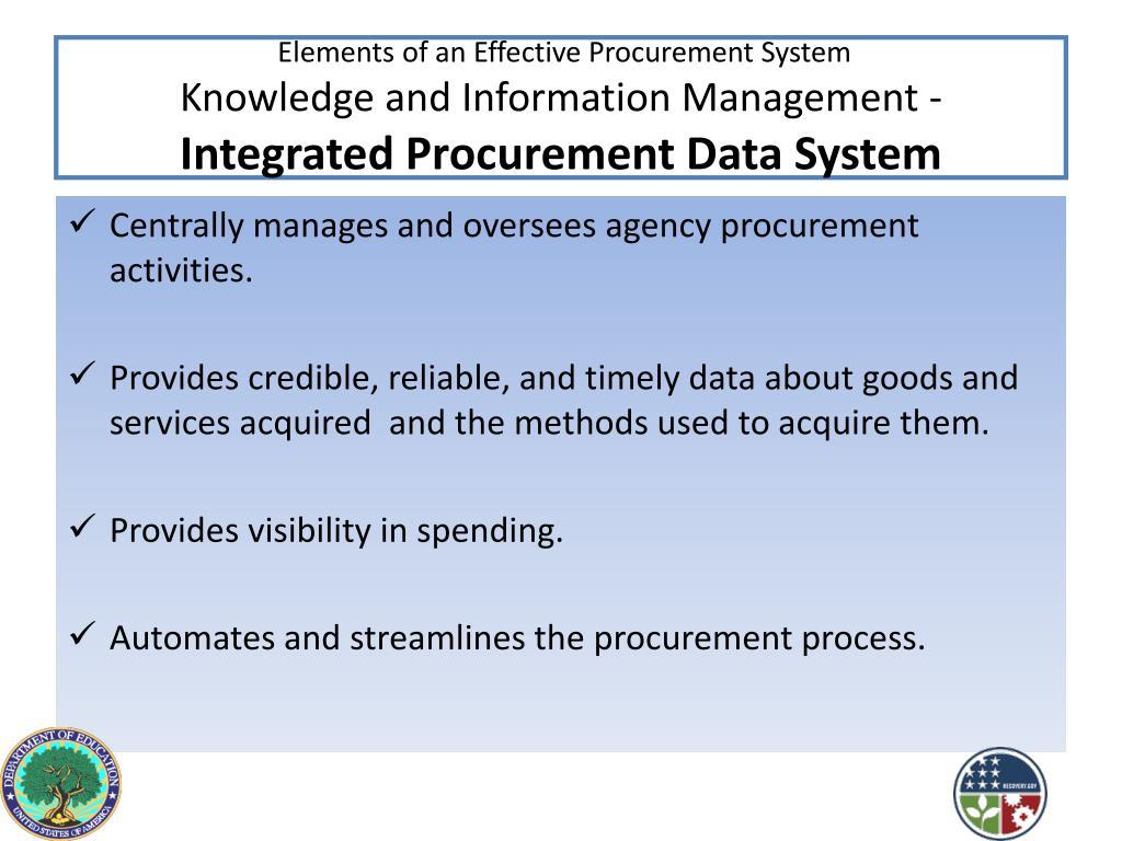 Elements of an Effective Procurement System