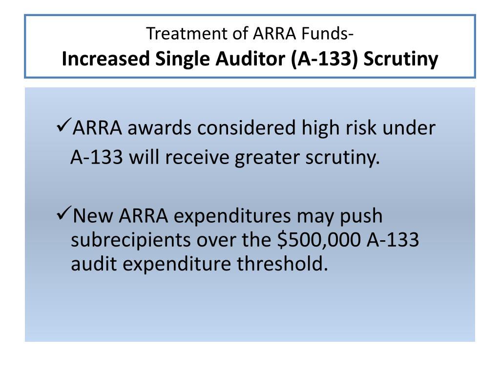 Treatment of ARRA Funds-
