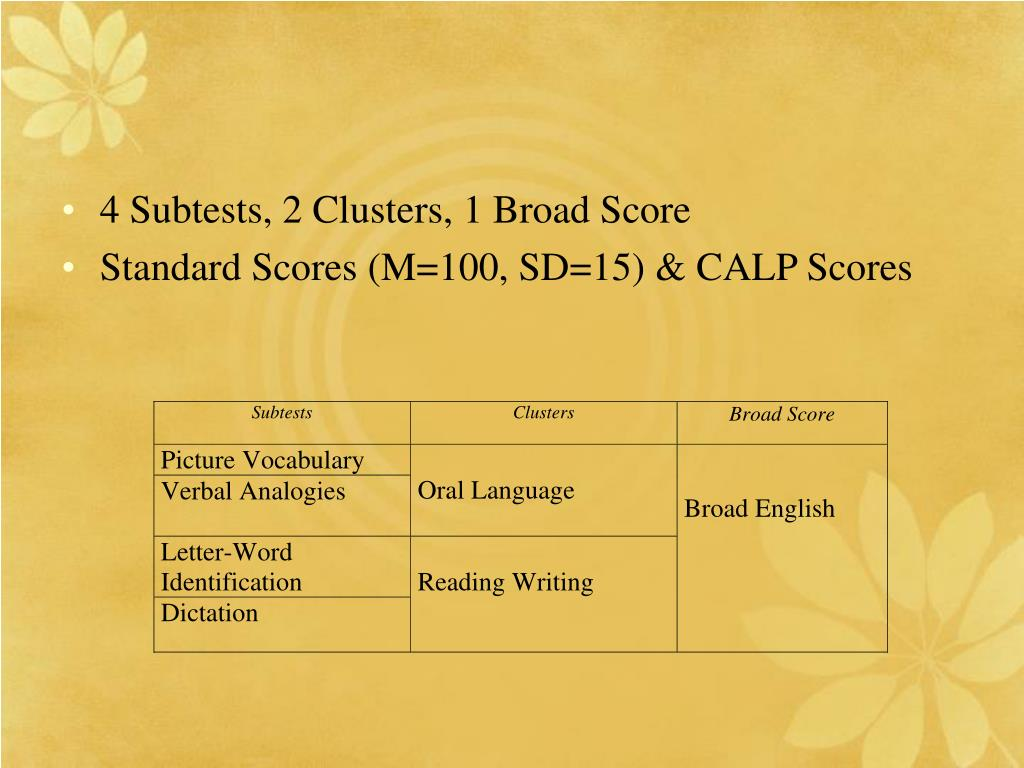4 Subtests, 2 Clusters, 1 Broad Score