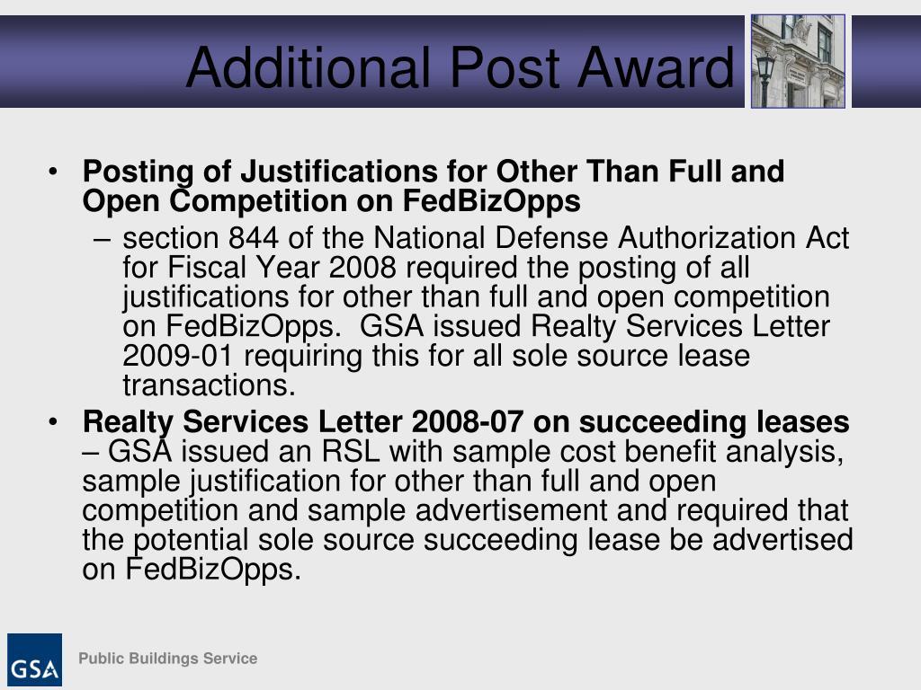 Additional Post Award