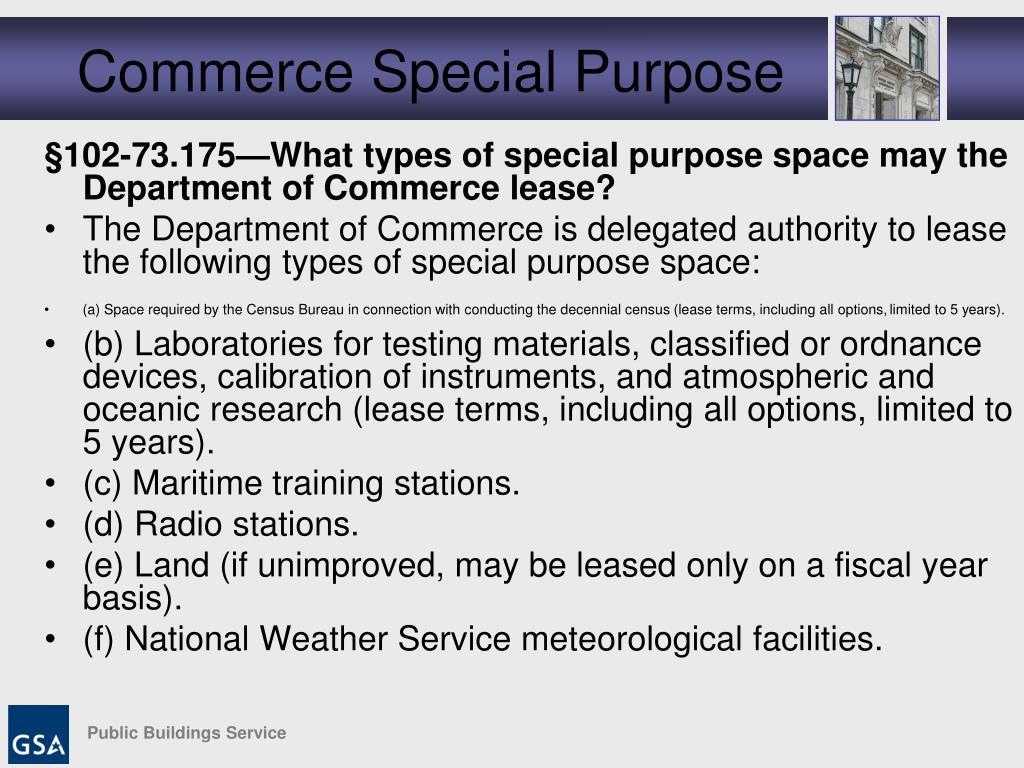 Commerce Special Purpose