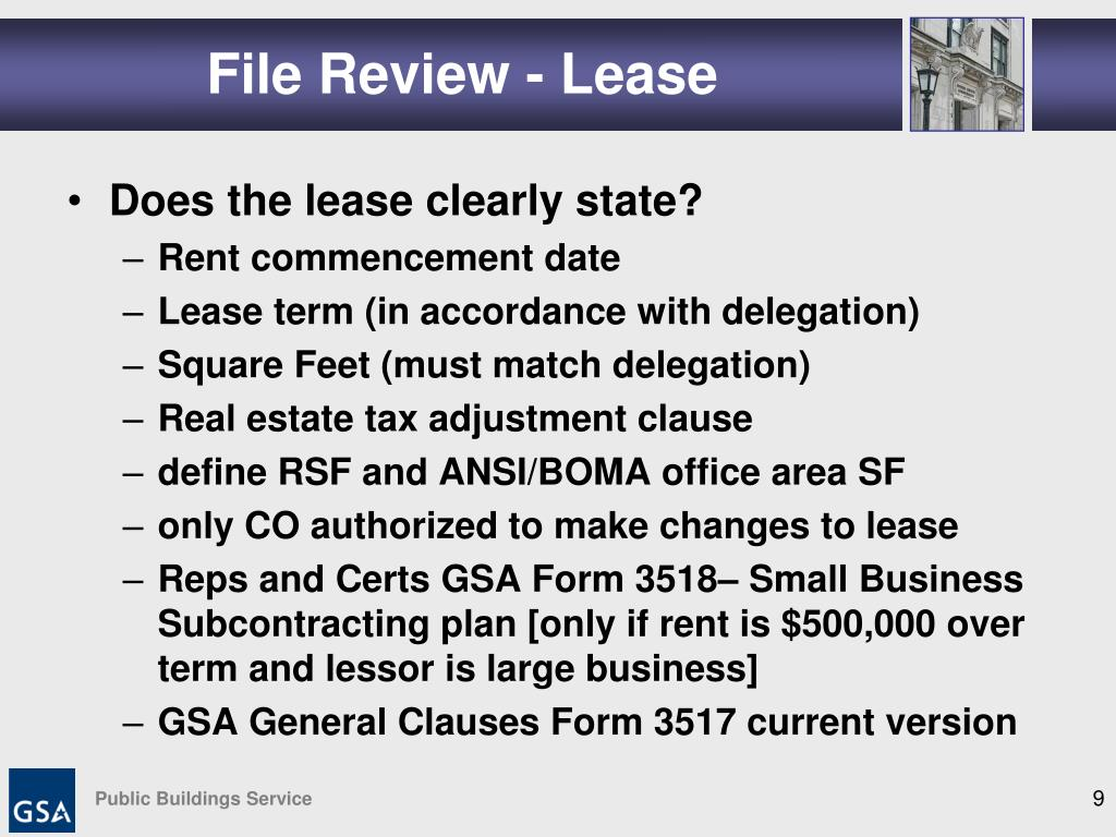 File Review - Lease