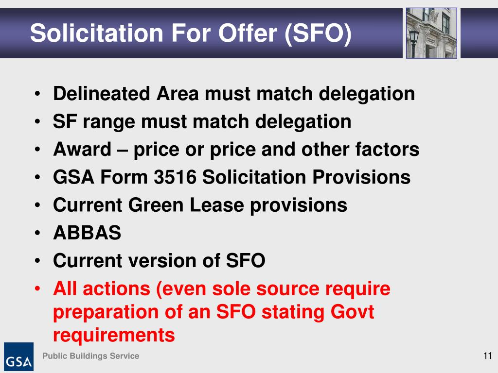 Solicitation For Offer (SFO)