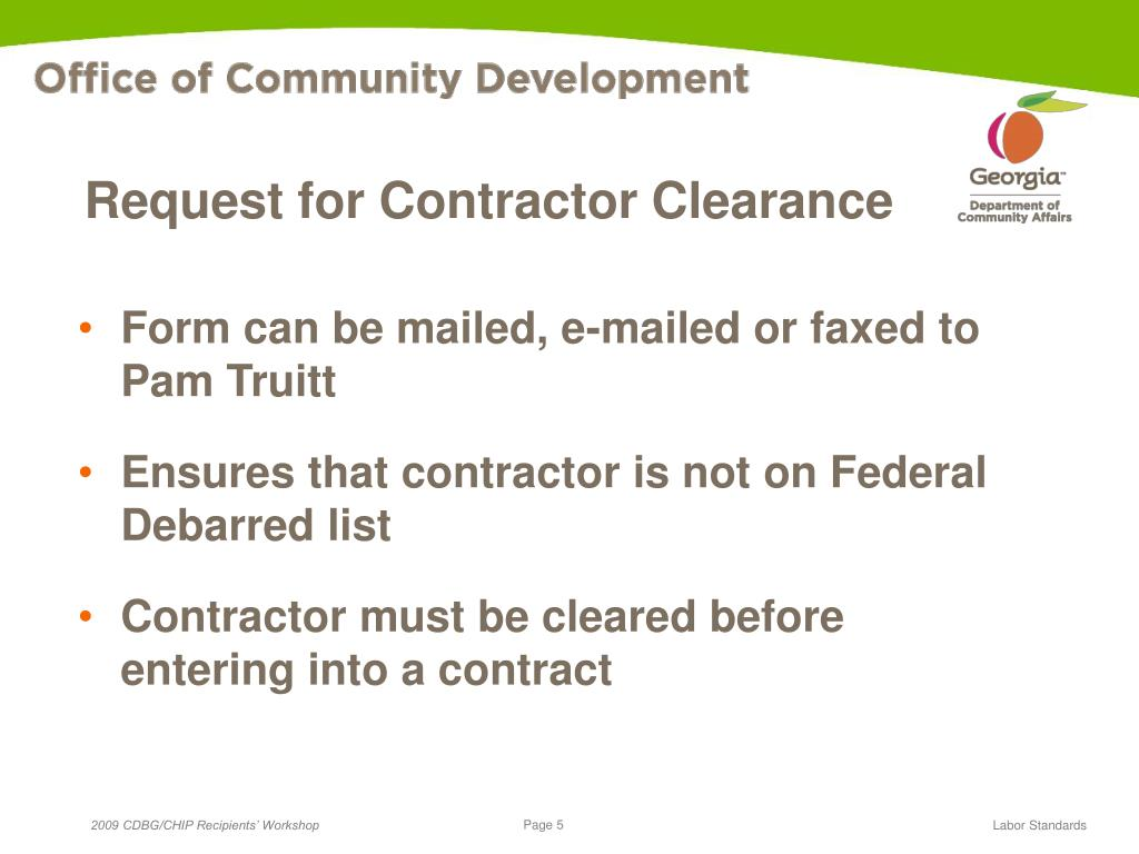 Request for Contractor Clearance
