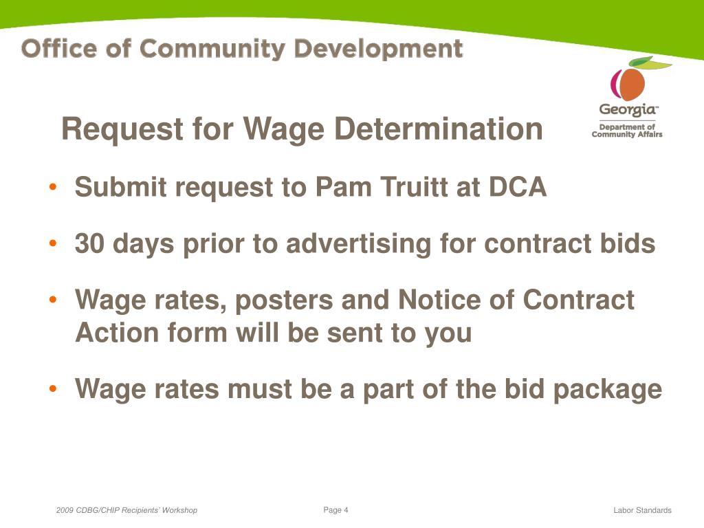 Request for Wage Determination