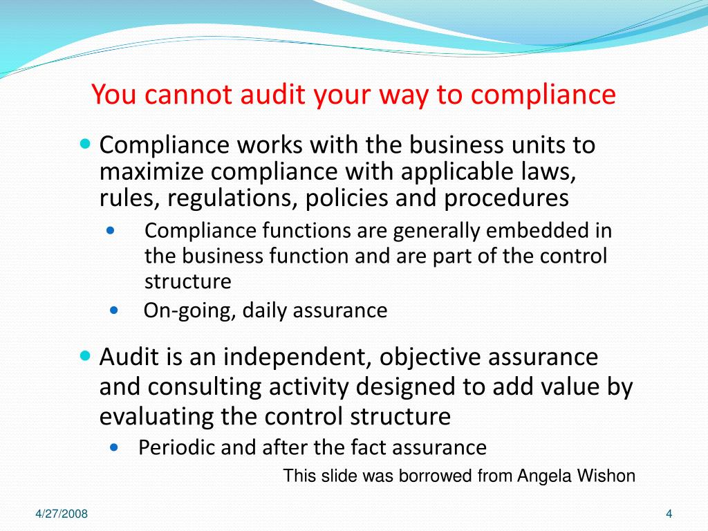 You cannot audit your way to compliance
