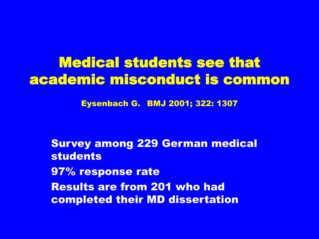 Medical students see that academic misconduct is common