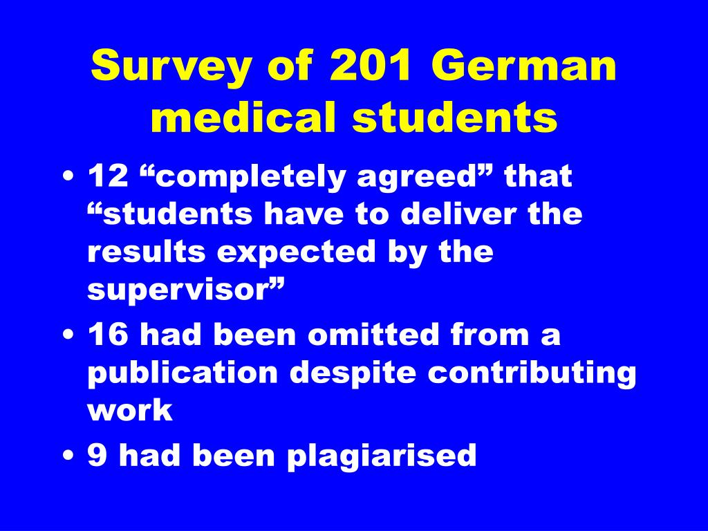Survey of 201 German medical students