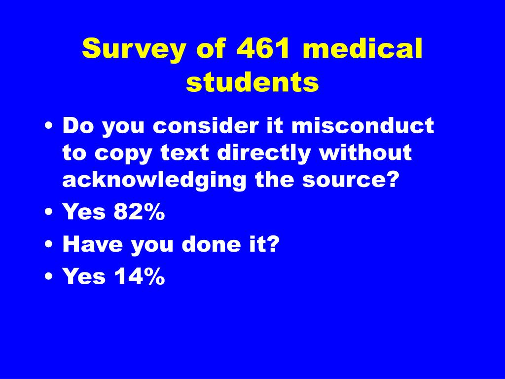Survey of 461 medical students