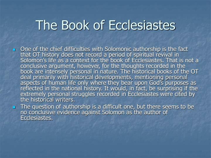 The Book of Ecclesiastes