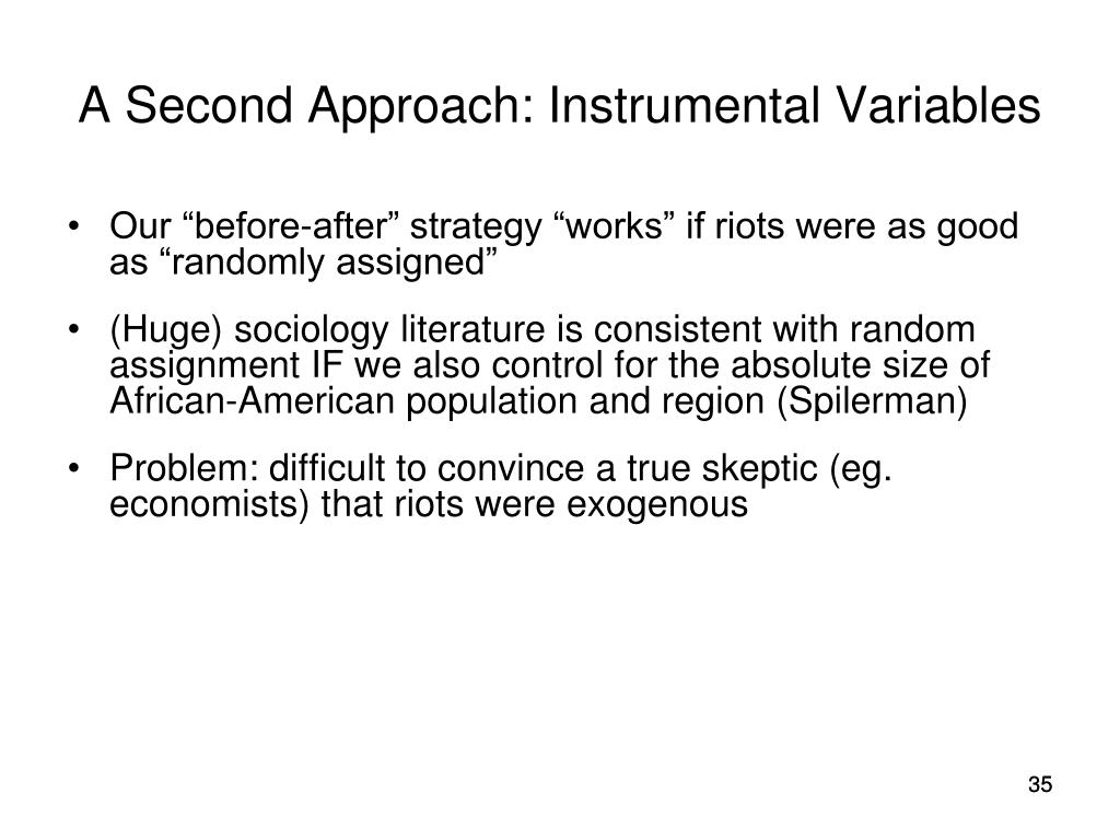 A Second Approach: Instrumental Variables