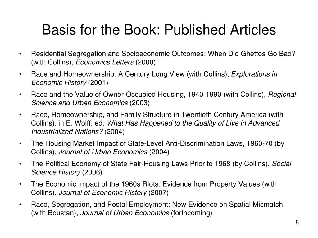 Basis for the Book: Published Articles