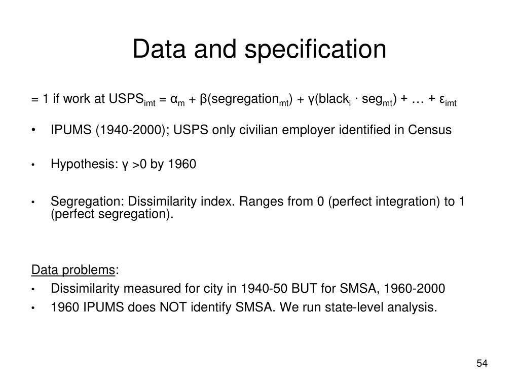 Data and specification