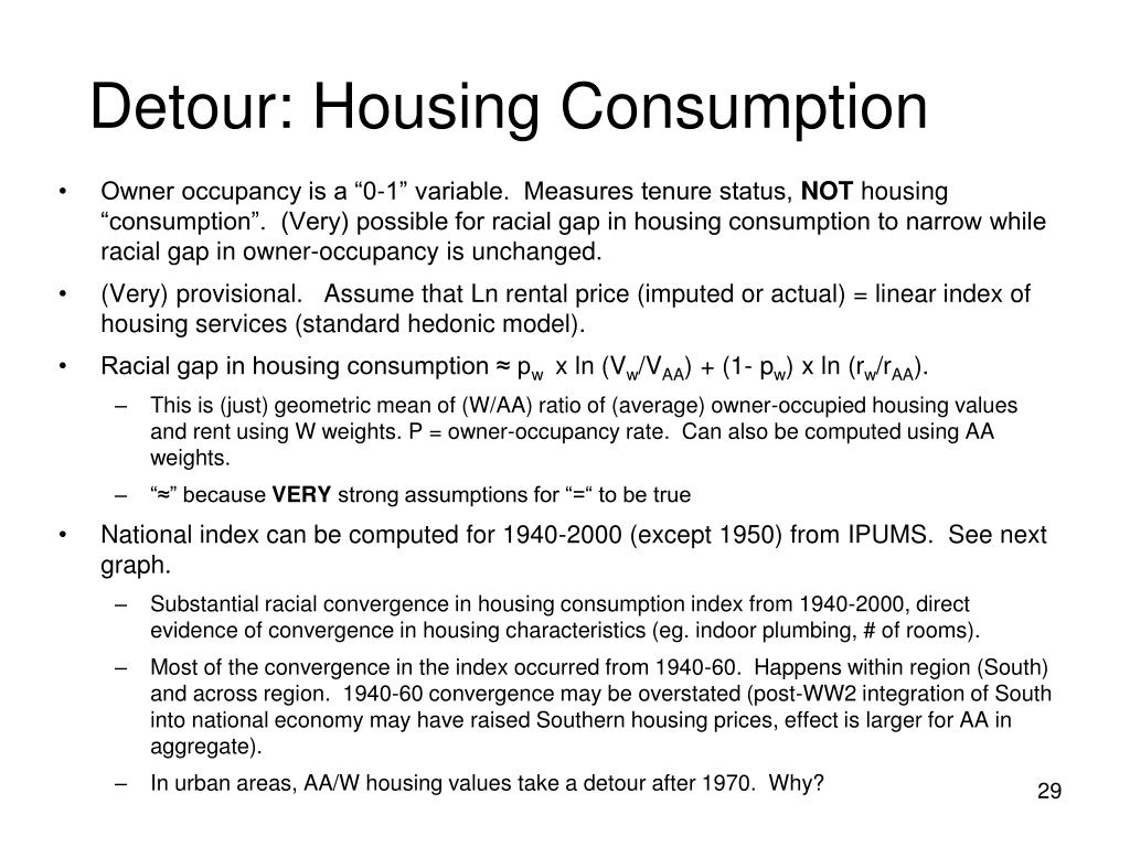 Detour: Housing Consumption