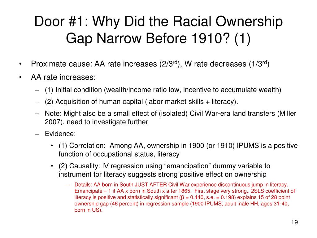 Door #1: Why Did the Racial Ownership Gap Narrow Before 1910? (1)