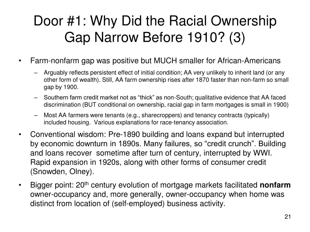 Door #1: Why Did the Racial Ownership Gap Narrow Before 1910? (3)