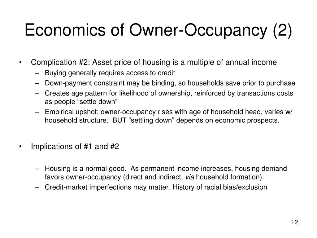 Economics of Owner-Occupancy (2)