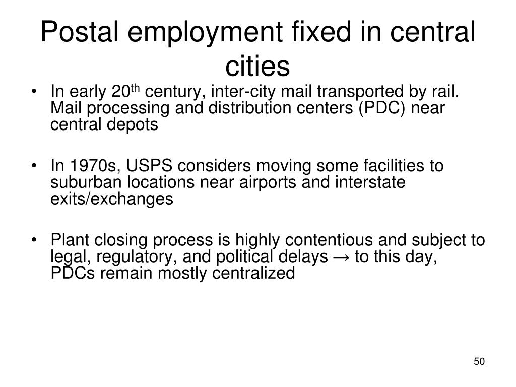 Postal employment fixed in central cities