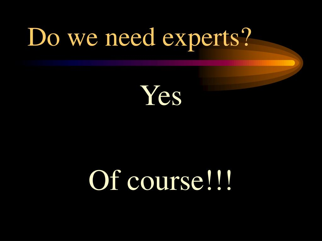 Do we need experts?