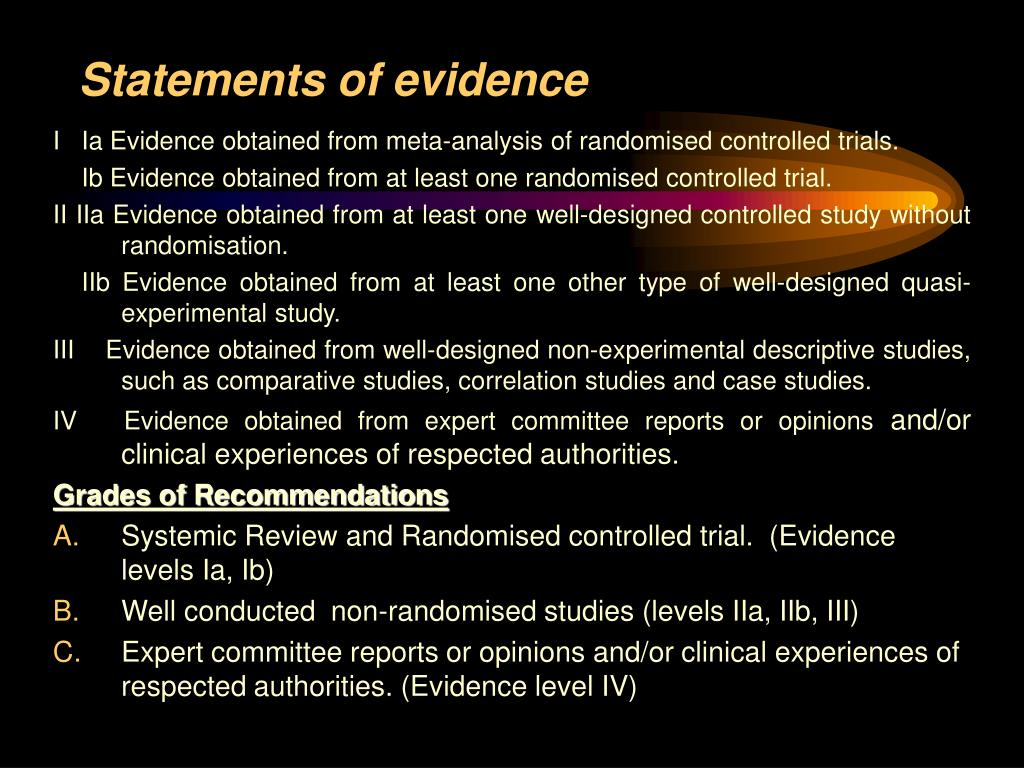 Statements of evidence