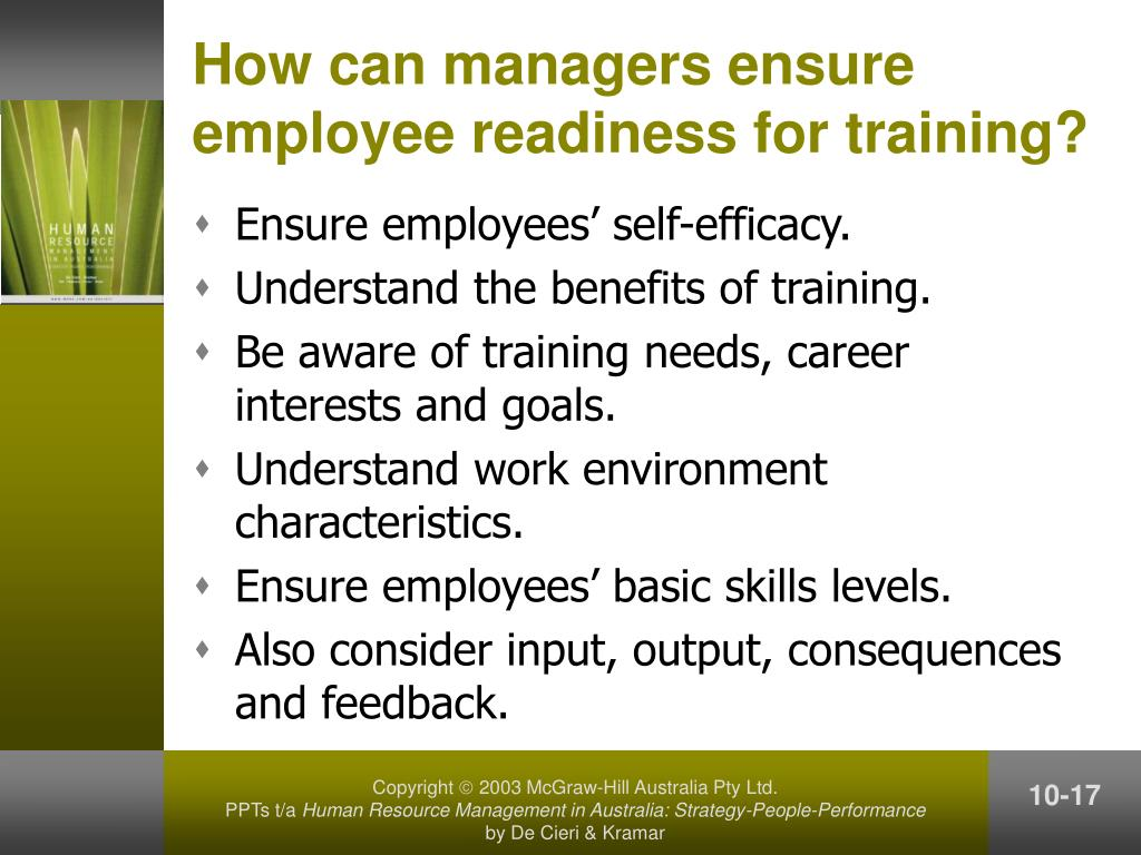 How can managers ensure employee readiness for training?