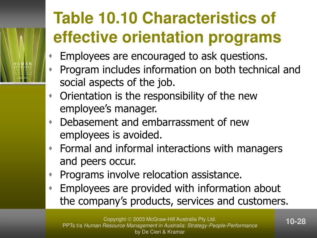 Table 10.10 Characteristics of effective orientation programs