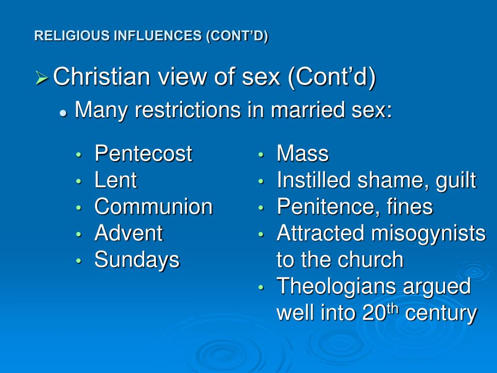 Christian view of sex (Cont'd)